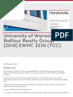 University of Warwick v Balfour Beatty Group 2018 Ewhc 3230 Tcc