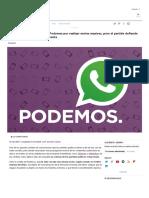 WhatsApp Cierra El Canal de Podemos Por Realizar Envíos Masivos, Pero El Partido Defiende Que Ha Hecho Todo Correctamente