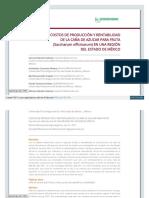 COSTOS DE PRODUCCIÓN Y RENTABILIDAD DE LA CAÑA DE AZUCAR PARA FRUTA