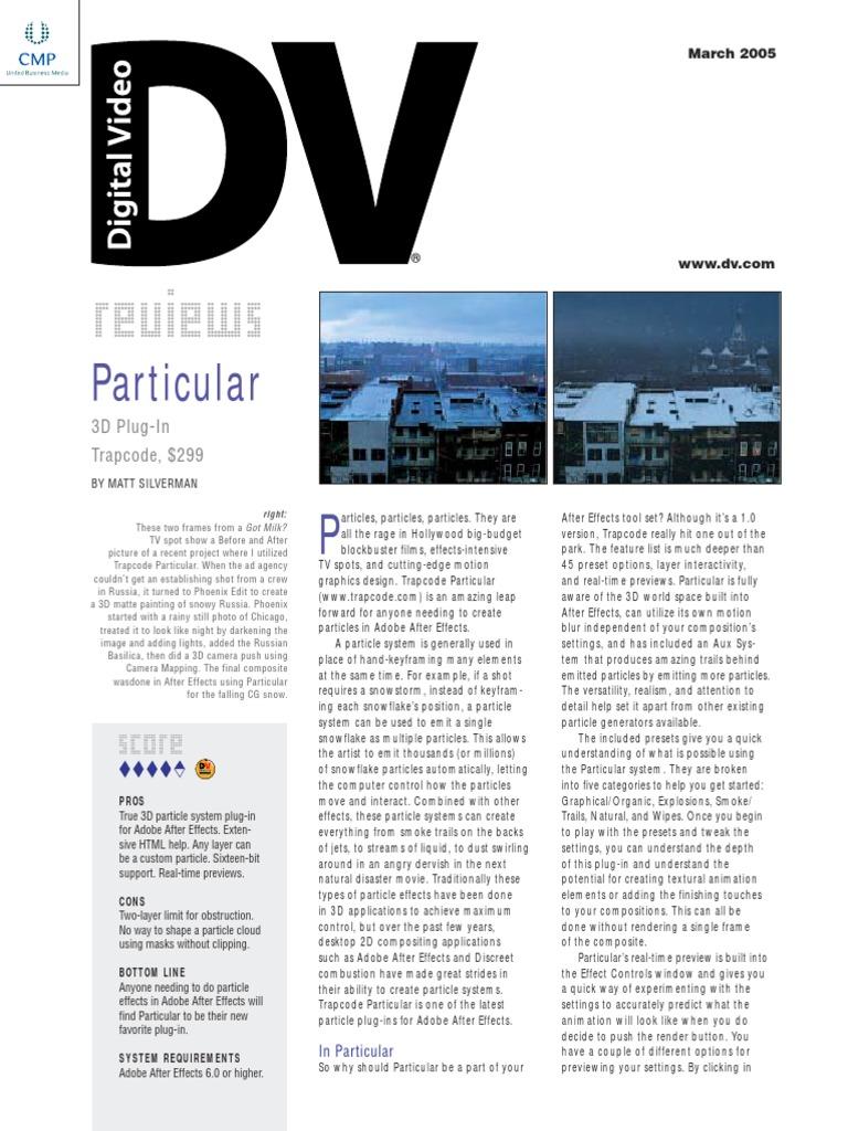 Particular Dv Review | 3 D Computer Graphics | Computer Graphics