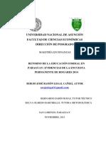 14. LEGAL CAÑISÁ, Sergio (2015) Retorno de La Educacion Formal en Paraguay 2014 Sergio Legal