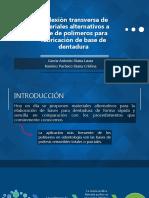 Deflexión transversa de materiales alternativos a base de polímeros para la aplicación de base de dentadura