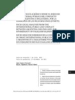 ANÁLISIS SOCIO-JURÍDICO DESDE EL DERECHO INTERNACIONAL PÚBLICO DEL CONFLICTO ENTRE ARGENTINA E INGLATERRA, POR LA SOBERANÍA DE LAS ISLAS MALVINAS (I PARTE)