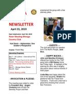 Moraga Rotary Newsletter April 23 2019
