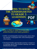 Getting to Know the K to 3 Learners