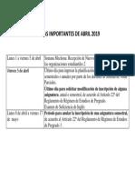 Fechas Importantes Abril 2019