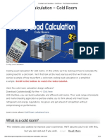 Cooling Load Calculation - Cold Room - The Engineering Mindset
