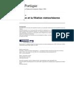 Leportique 467 Cioran Et La Filiation Nietzscheenne[1]