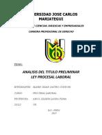 Analisis Del Titulo Preliminar Ley Procesal Laboral