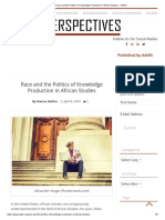 Race and Politics of Knowledge in African Studies