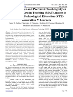 Learning Styles and Preferred Teaching Styles of Master of Arts in Teaching (MAT), major in Vocational Technological Education (VTE) Generation Y Learners