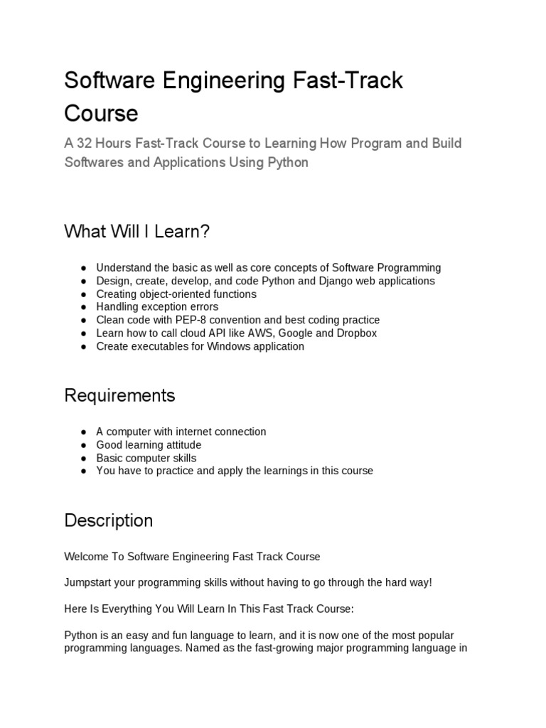 Software Engineering Fast Track Course What Will I Learn Programming Language Python Programming Language