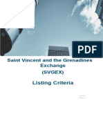 SVGEX Exchange - Listing Criteria - Saint Vincent and the Grenadines Securities Exchange
