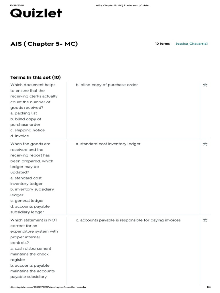 Ais Chapter 5 Mc Terms In This Set 10 Accounts Payable Business Economics