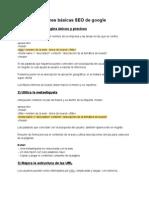 Recomendaciones básicas SEO de google resumen