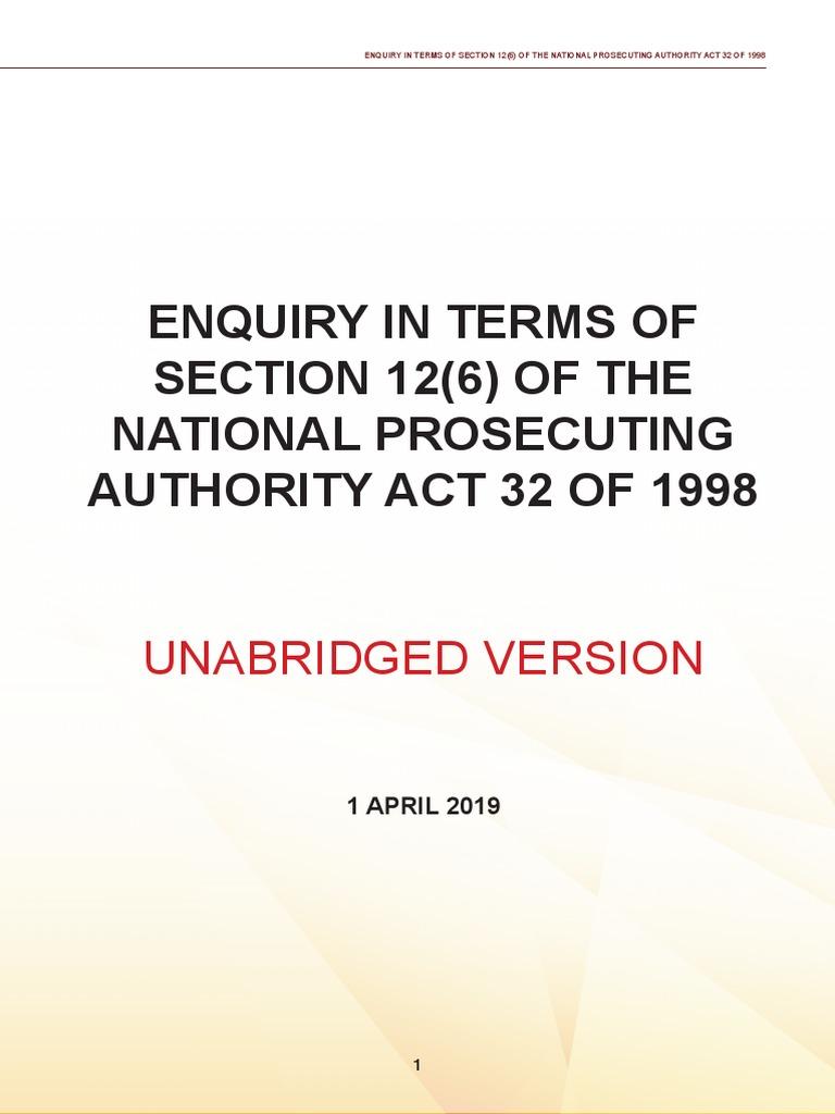 Mokgoro Report - Unabridged Version | Prosecutor | Discretion