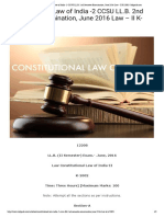 Constitutional Law of India -2 CCSU LL.B. 2nd Semester Examination, June 2016 Law - II K-2002 _ Infipark.com