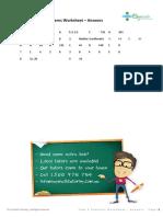 Year 8 Patterns Worksheet - ANSWERS