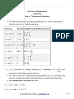 12 Maths Key Notes Ch 02 Inverse Trigonometric Functions