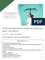 10 Técnicas Efectivas en Terapia de Pareja Para Salvar Una Relación