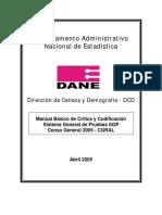 DANE CENSO 2005 - Manual Básico Critica Codificación CGRAL