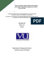 Ratio Analysis of Bank Al Habib Limited, Habib Metropolitan Bank Limited and J.S Bank Limited for Financial Year 2013, 2014 and 2015.docx