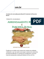 Contrato de Arrendamento Rural X Contrato de Parceria Rural