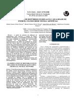 CLASSIFICAÇÃO DE DISTÚRBIOS EM RELAÇÃO À QUALIDADE DE ENERGIA USANDO REDE NEURAL ARTIFICIAL