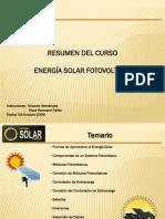 Resumen al Curso de Energía Solar Fotovoltaica