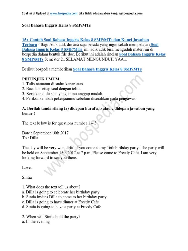 Soal Ukk Bahasa Inggris Smp Kelas 8 Dan Kunci Jawaban Ilmusosial Id