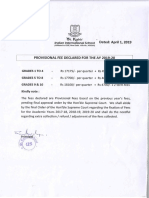 Provisional Fee for Academic Year 2019 20