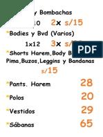 Shorts y Bombachas