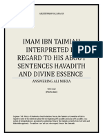 IMAM IBN TAIMIAH INTERPRETED IN REGARD TO HIS ABOUT SENTENCES HAVADITH AND DIVINE ESSENCE [Revised]