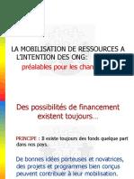 Préalables Mobilisation de Ressources