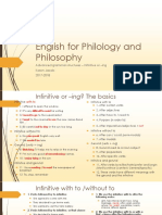 English for Philosophy and Philology - Infinitive or -Ing