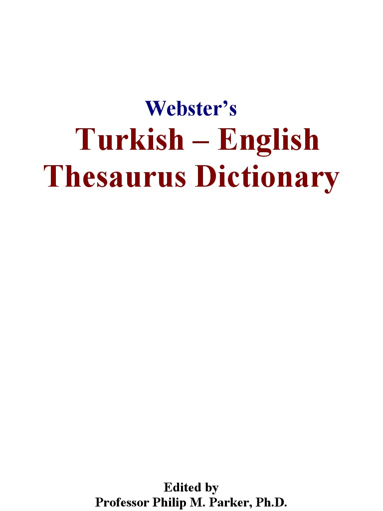Websters Turkish English English Language Dictionary
