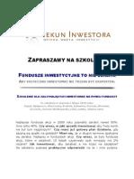 Opiekun Inwestora Szkolenie z a Na Rynku Funduszy Inwestycyjnych