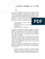 Investigación y Desarrollo Tecnológico en La Unión Europea