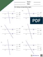 Corresponding Angles Geometry Worksheet