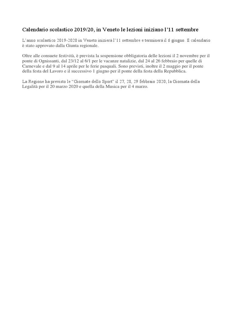 Calendario Scolastico 2020 2020 Veneto.Calendario Scolastico Regionale 2019 20