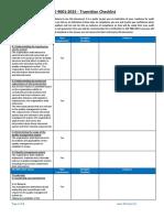 ISO 9001 2015 Transition Checklist