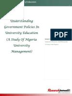 Understanding Government Policies in University Education