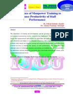Importance of Manpower Training to Enhance Productivity of Staff Performance