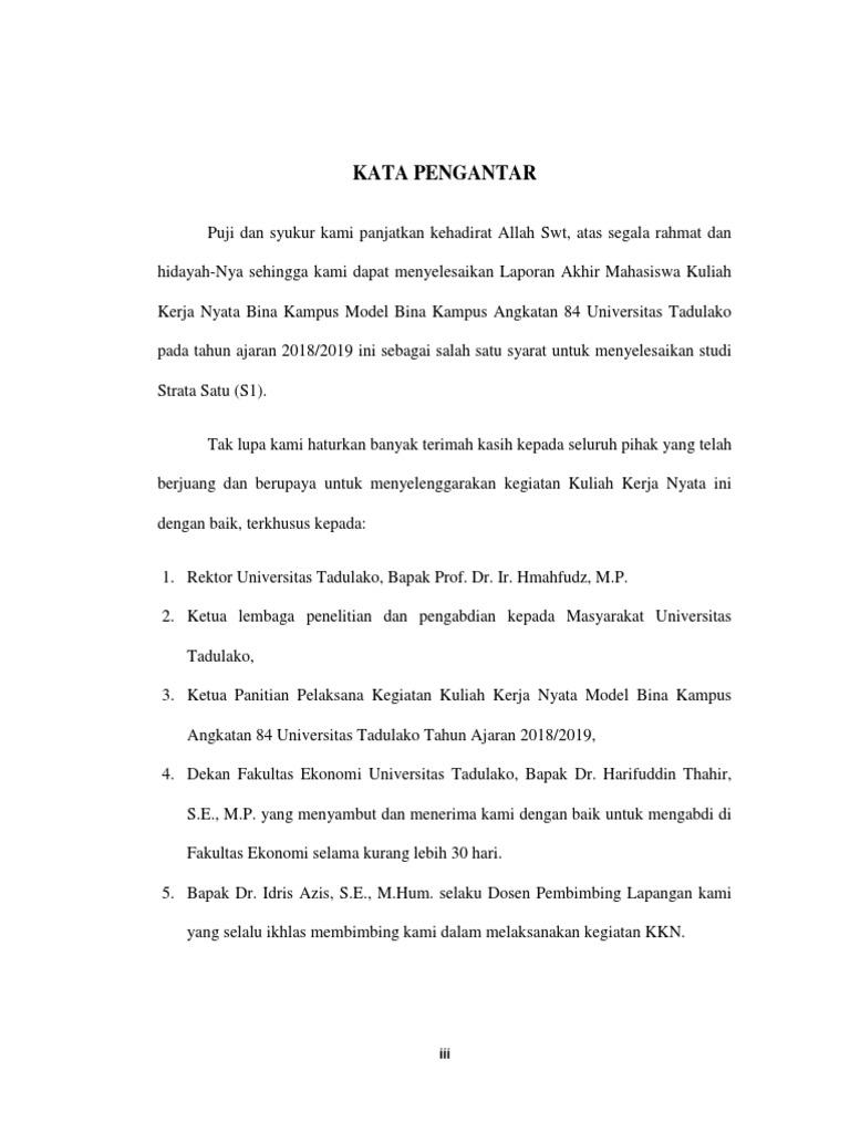 Contoh Kkn Kata Pengantar Laporan Dan Daftar Isi