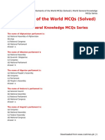 Parliaments of the World MCQs (Solved) _ World General Knowledge MCQs Series