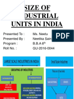 Size of Industrial Units in India