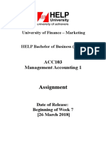 ACC103 Assignment January 2019 Intake