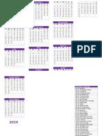 2019 Christian Calendar