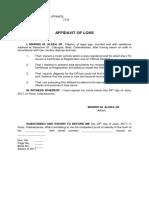 Affidavit of Loss Marino