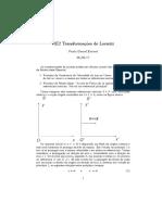 RE2 Transformações de Lorentz